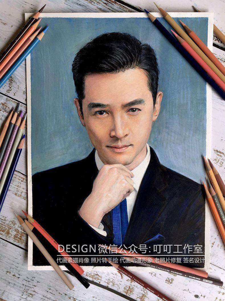 手绘真人肖像素描彩铅画像定制代画