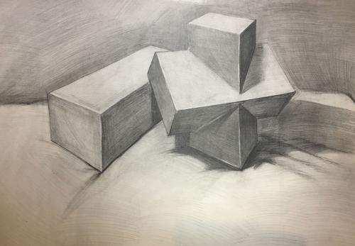 石膏几何体组合结构素描