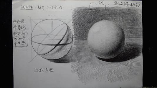 圆球体素描初学步骤图